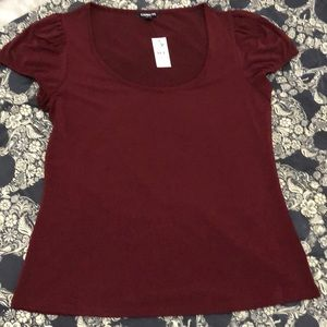 Express stretchy comfy maroon cap sleeve shirt